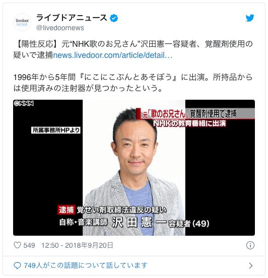 元歌のお兄さんが大麻所持で逮捕!沢田憲一の現在と昔の比較画像がヤバイ