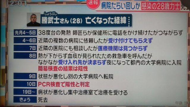 高田川部屋の勝武士(しょうぶし)のが新型コロナ感染はいつから
