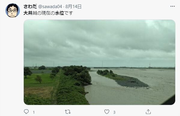 氾濫の恐れのある大井川の時間経過の水位のまとめ